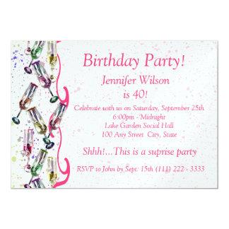 Champagne-Partei-Geburtstag 12,7 X 17,8 Cm Einladungskarte