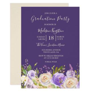 Champagne-Rosen-lila Blumen-Abschluss-Party Karte