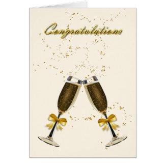 Champagne-Toast-Hochzeits-Glückwünsche Karte