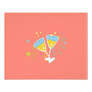 Champagne-Toast. Retro Geburtstags-Party-Rosa 11,4 X 14,2 Cm Flyer