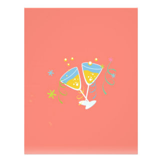 Champagne-Toast. Retro Geburtstags-Party-Rosa Flyer Druck