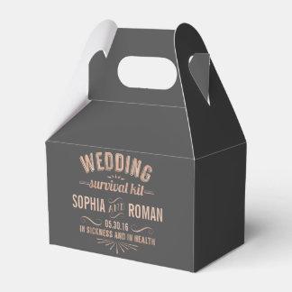 Champagne und graue Hochzeits-Überlebensausrüstung Geschenkschachteln