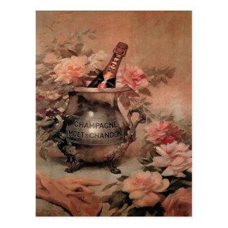 Champagne und Rosen Postkarte