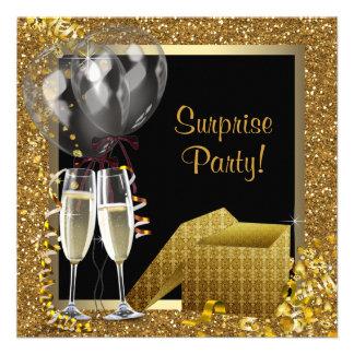 Champagneconfetti-Schwarz-Goldüberraschungs-Party Personalisierte Ankündigungen