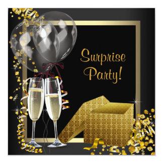 Champagneconfetti-Schwarz-Goldüberraschungs-Party Personalisierte Einladungskarten