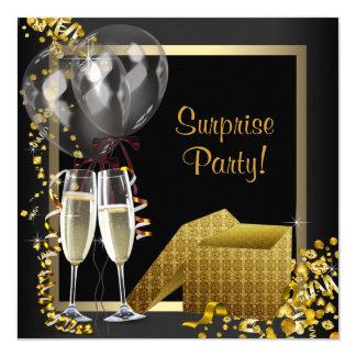 Champagneconfetti-Schwarz-Goldüberraschungs-Party Quadratische 13,3 Cm Einladungskarte