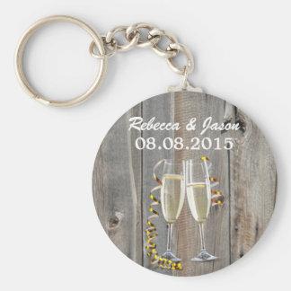 Champagner-Western-Landhochzeit der rustikalen Schlüsselanhänger