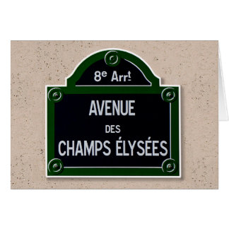 Champions Elysee Zeichen-Gruß-Karte Karte