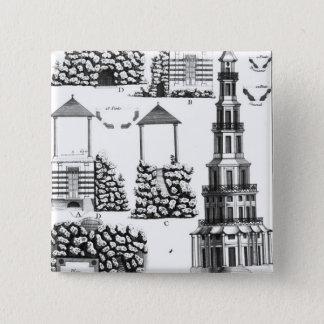 Chanteloup Pagode, von 'Detail-DES Nouveaux Jard Quadratischer Button 5,1 Cm
