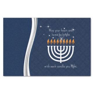 Chanukka blau und Weiß mit jedem Kerzen-Licht Seidenpapier