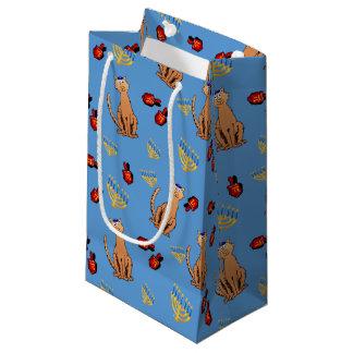 Chanukka-Katze Dreidel blaue Geschenk-Tasche Kleine Geschenktüte