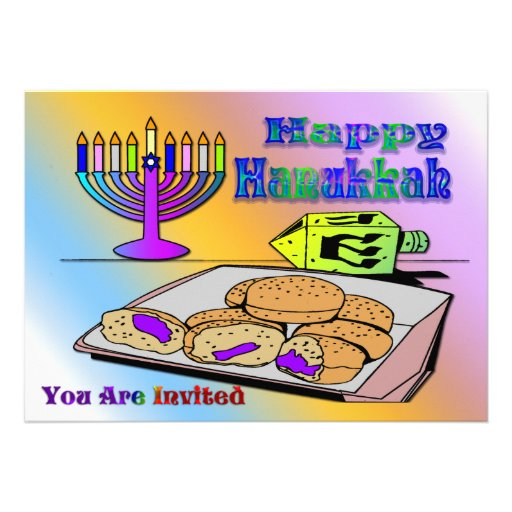 Chanukka - Nahrung, Dreidel, Menorah Einladung