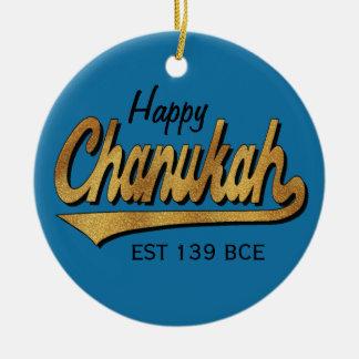 "Chanukka ""Retro glückliches Chanukah"" /Circle Keramik Ornament"