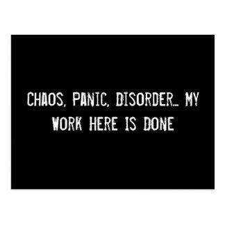 Chaos, Panik, Störung… Meine Arbeit hier wird Postkarte