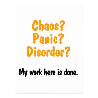 Chaos? Panik? Störung? Postkarte