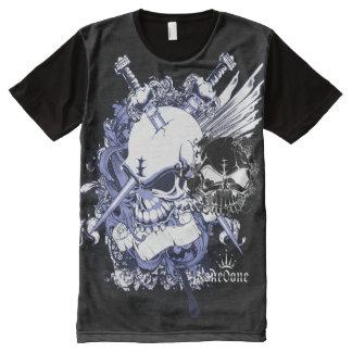 Chaotischer Schädel T-Shirt Mit Komplett Bedruckbarer Vorderseite