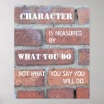 Charakter wird durch Aktions-Plakat gemessen