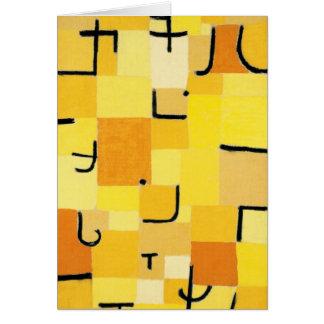 Charaktere in gelbem abstraktem Paul Klee Karte