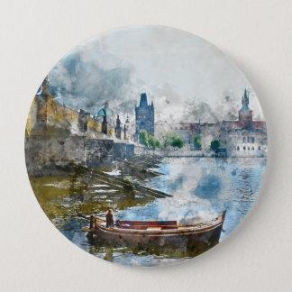 Charles-Brücke in Prag Tscheche Rebulic Runder Button 10,2 Cm