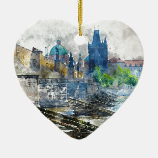 Charles-Brücke in Tschechischer Republik Prags Keramik Herz-Ornament