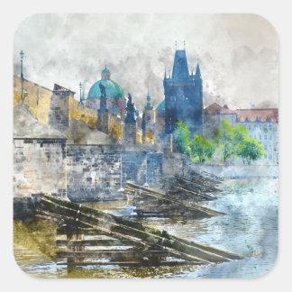 Charles-Brücke in Tschechischer Republik Prags Quadratischer Aufkleber