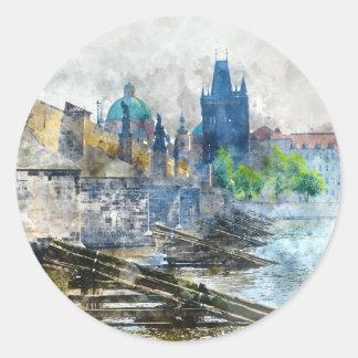 Charles-Brücke in Tschechischer Republik Prags Runder Aufkleber