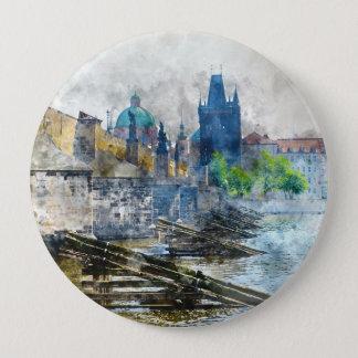 Charles-Brücke in Tschechischer Republik Prags Runder Button 10,2 Cm