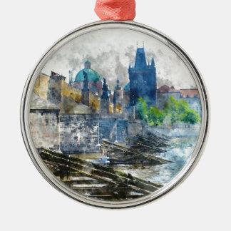 Charles-Brücke in Tschechischer Republik Prags Rundes Silberfarbenes Ornament