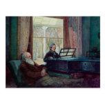Charles Darwin und seine Ehefrau am Klavier Postkarten