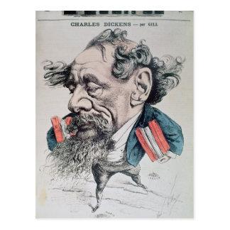 Charles Dickens rittlings auf dem englischen Kanal Postkarte