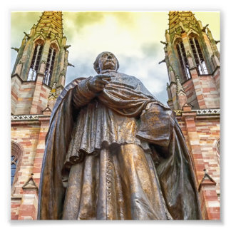 Charles-Emile Freppel Statue, Obernai, Frankreich Fotodruck