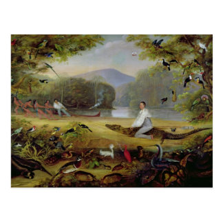 Charles Waterton, der einen Kaiman, 1825-26 Postkarte
