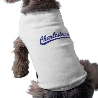 Charlestown Skriptlogo im Blau Ärmelfreies Hunde-Shirt