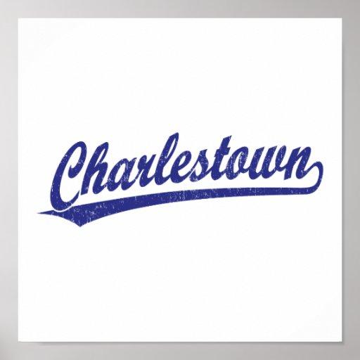 Charlestown Skriptlogo im Blau Plakatdrucke
