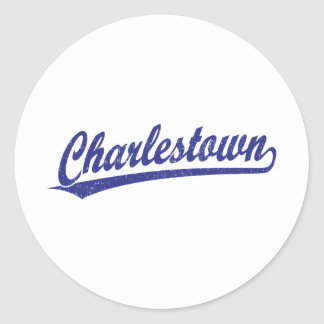 Charlestown Skriptlogo im Blau Runder Aufkleber