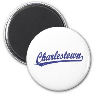 Charlestown Skriptlogo im Blau Runder Magnet 5,1 Cm