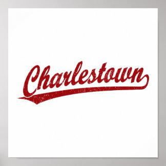 Charlestown Skriptlogo im Rot Posterdrucke
