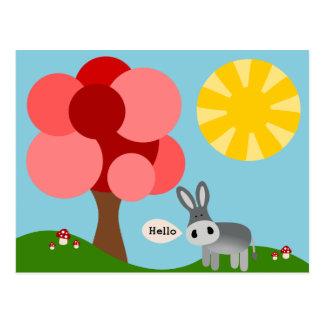 Charlie die Esel-hallo Karte Postkarte