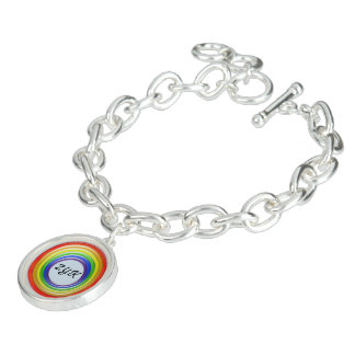 Charme-Armband - Regenbogen Ringe und Initals Charm Armband