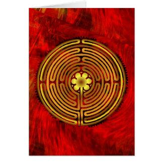 Chartres-Labyrinth-Feuer-Gruß-Karte Karte