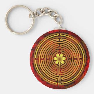 Chartres-Labyrinth-Feuer Keychain Schlüsselanhänger