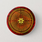 Chartres-Labyrinth-Feuer-Knopf Runder Button 5,7 Cm