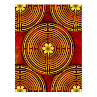 Chartres-Labyrinth-Feuer-Postkarte Postkarte