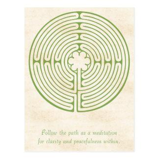 Chartres-Labyrinth-Grün Postkarte