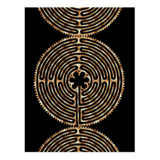 Chartres-Labyrinth-Perlen-dunkle Weg-Postkarte Postkarte