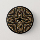 Chartres-Labyrinth-Perlen-dunkler Weg-Knopf Runder Button 5,1 Cm