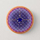 Chartres-Labyrinth-Perlen-Licht-Weg-Knopf Runder Button 5,7 Cm