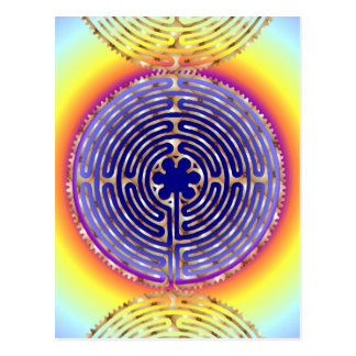 Chartres-Labyrinth-Perlen-Licht-Weg-Postkarte Postkarte