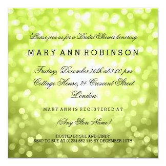 Chartreuse Glitter beleuchtet elegantes Brautparty Quadratische 13,3 Cm Einladungskarte