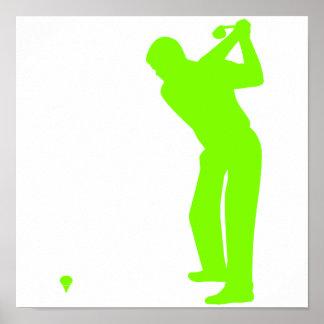 Chartreuse, grünes Neongolf Plakat